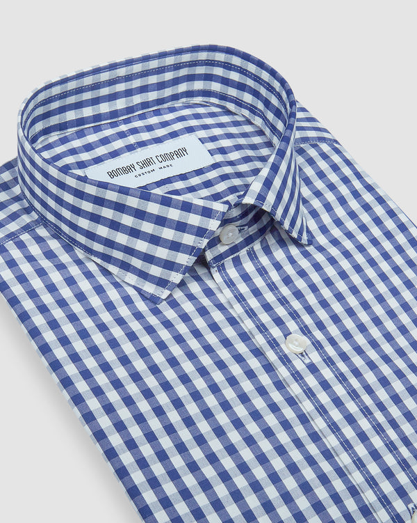 Wrinkle Resistant Premium Dark Blue Gingham Shirt