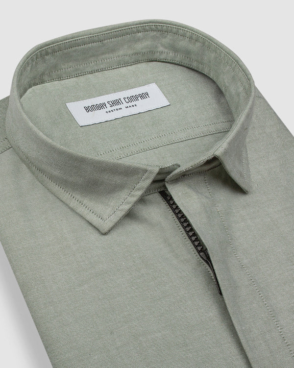 Sage Green Zipper Shirt