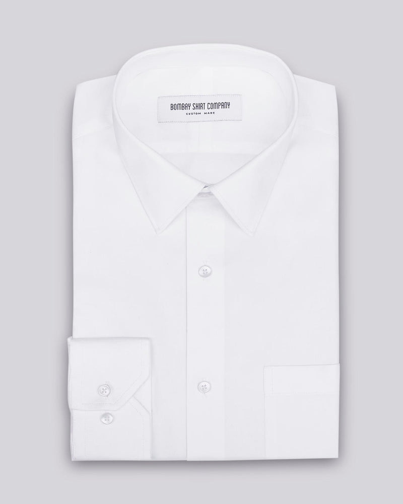 Wrinkle Resistant White Herringbone Shirt