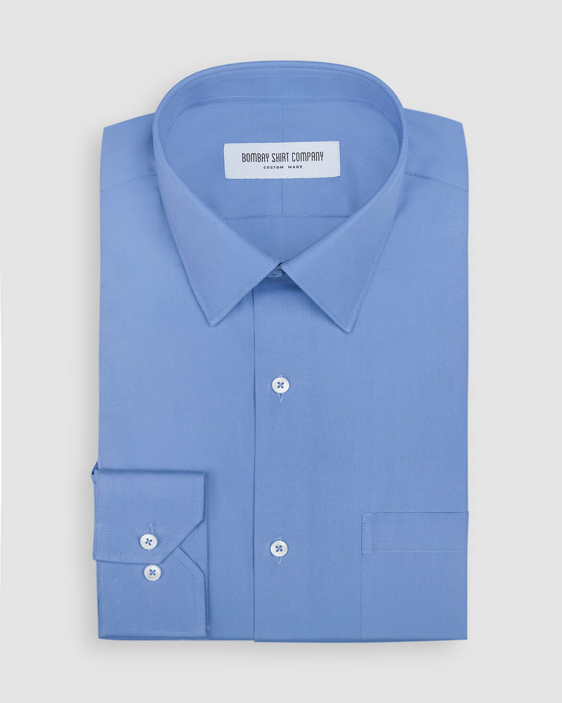 Premium Medium Blue Poplin Shirt