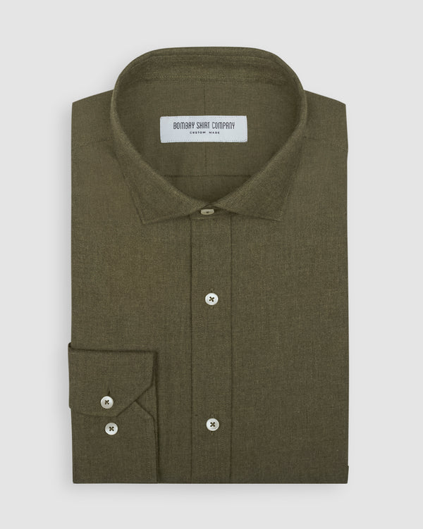 Moss Green Brushed Twill Shirt
