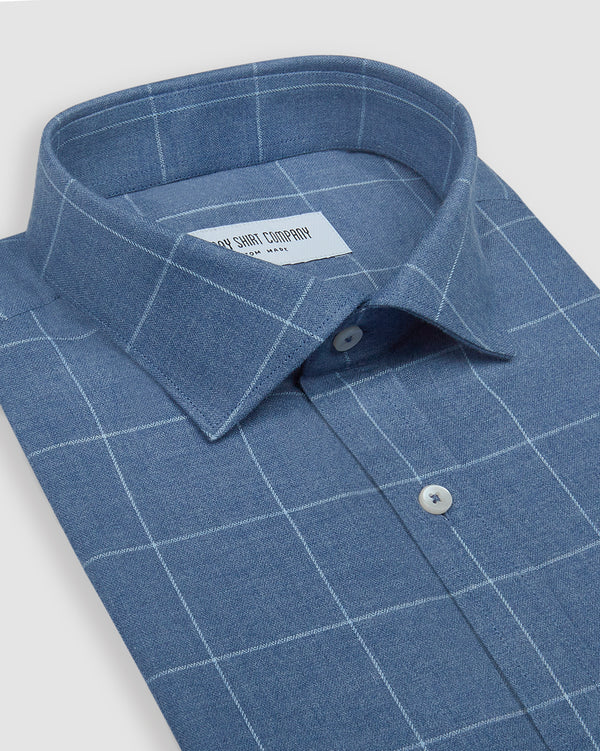Marine Blue Brushed Herringbone Checks Shirt