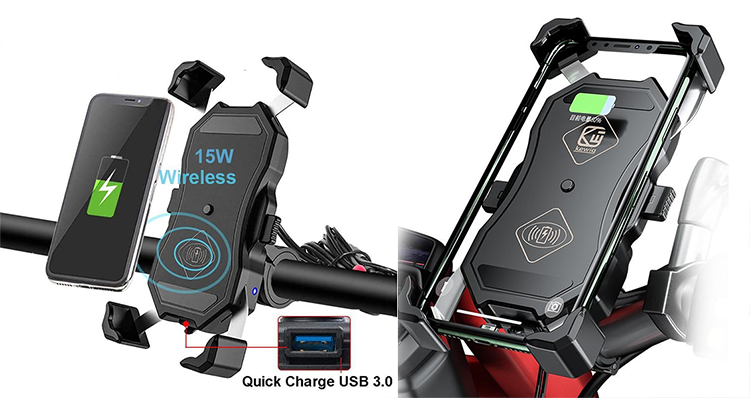Support moto chargeur