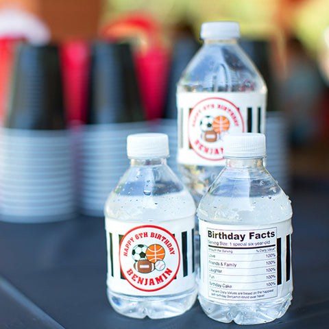 Personalized birthday water labels from Chickabug