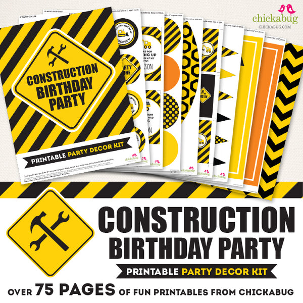 Construction Birthday Party Printable Decor Kit (Digital File)
