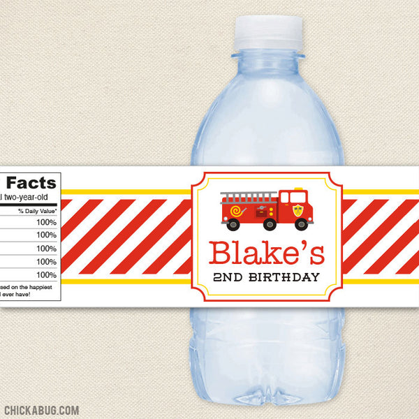 Fire Truck Water Bottle Labels