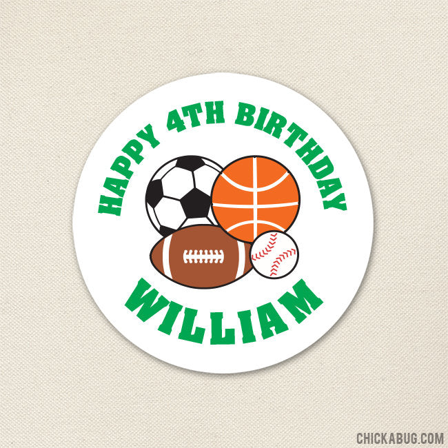 Green Sports Birthday Stickers