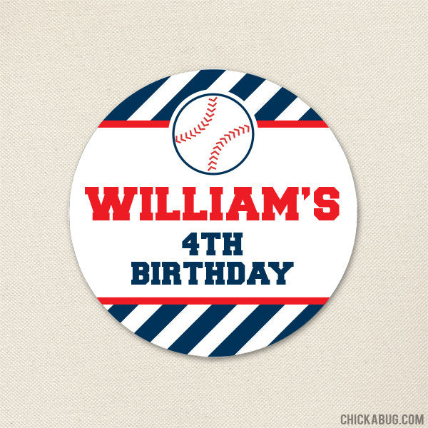 Baseball Birthday Stickers