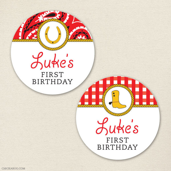 Country Western Birthday Stickers