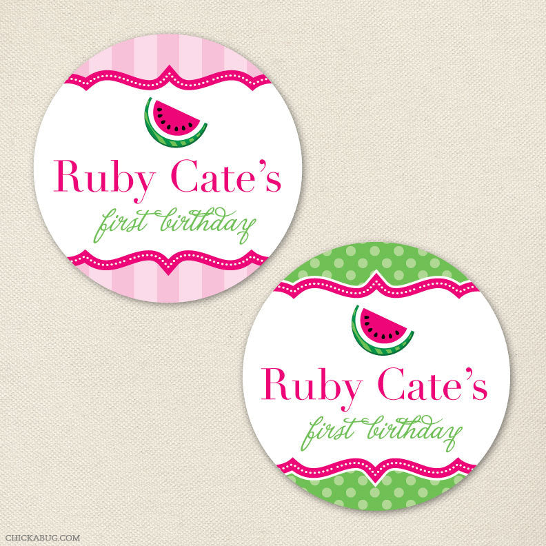 Pink Watermelon Birthday Stickers