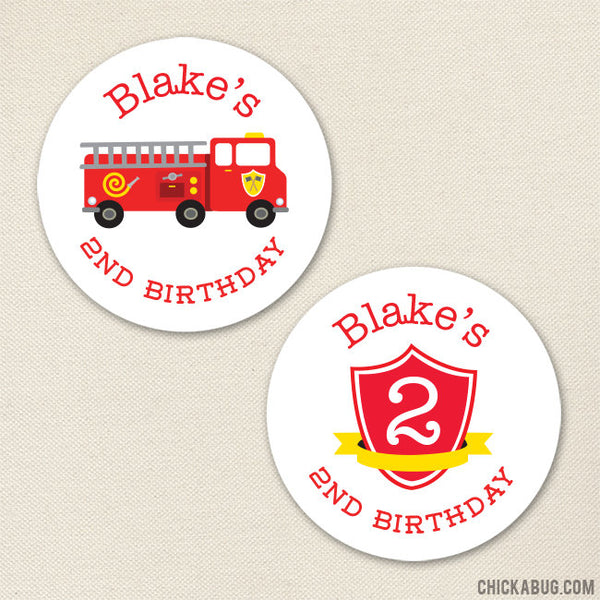 Fire Truck Birthday Stickers