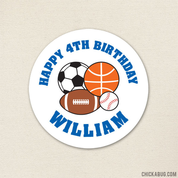 Blue Sports Birthday Stickers