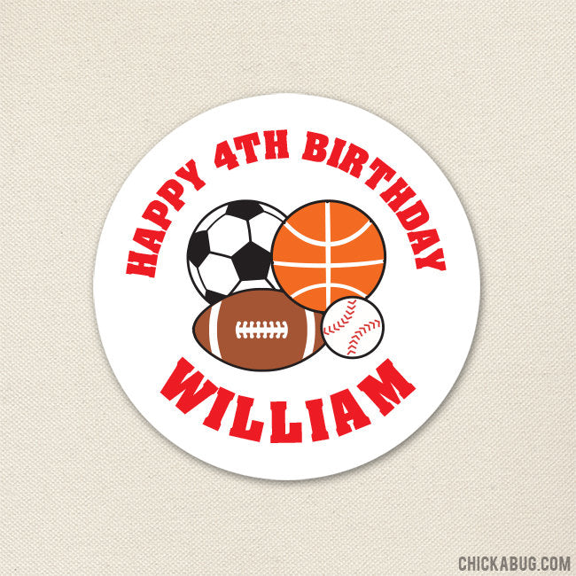 Red Sports Birthday Stickers