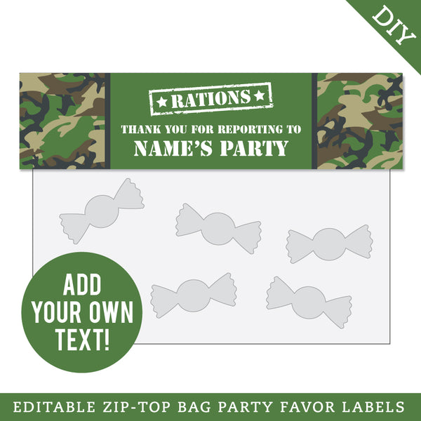 Army Party Editable Treat Bag Label (INSTANT DOWNLOAD)