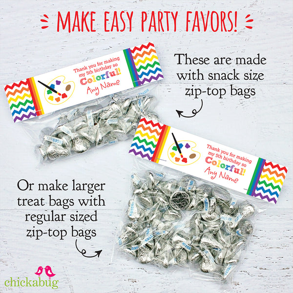 Art Party Editable Treat Bag Label (INSTANT DOWNLOAD)