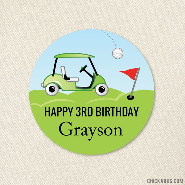 Golf Birthday Party Stickers