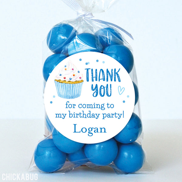 Blue Cupcake Favor Stickers