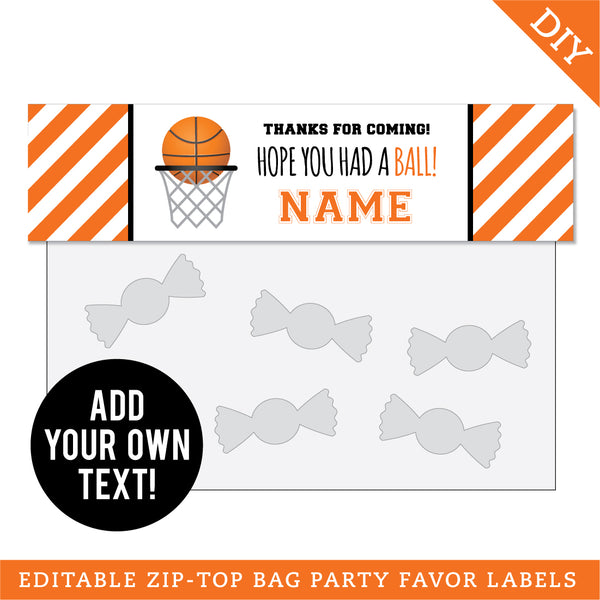 Basketball Party Editable Treat Bag Label (INSTANT DOWNLOAD)