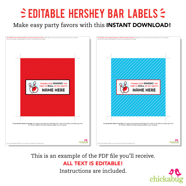 Bowling Party Editable Hershey Bar Labels (INSTANT DOWNLOAD)