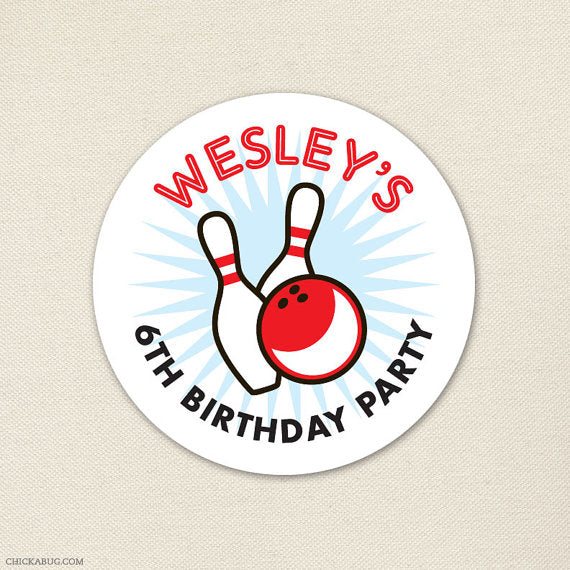 Bowling Birthday Stickers
