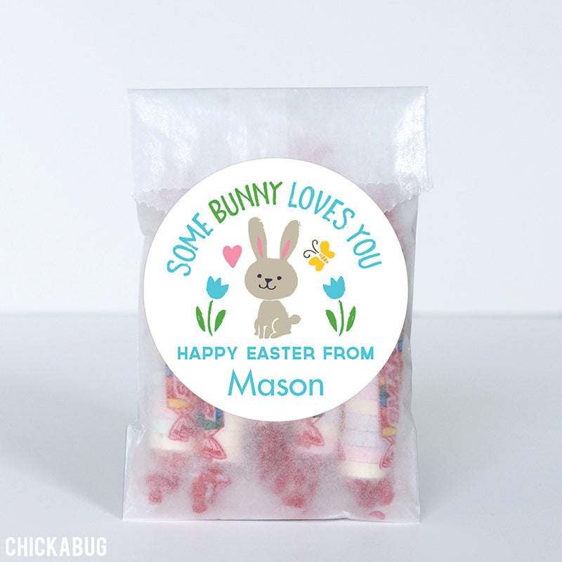 """Some Bunny Loves You"" Easter Stickers - Blue"