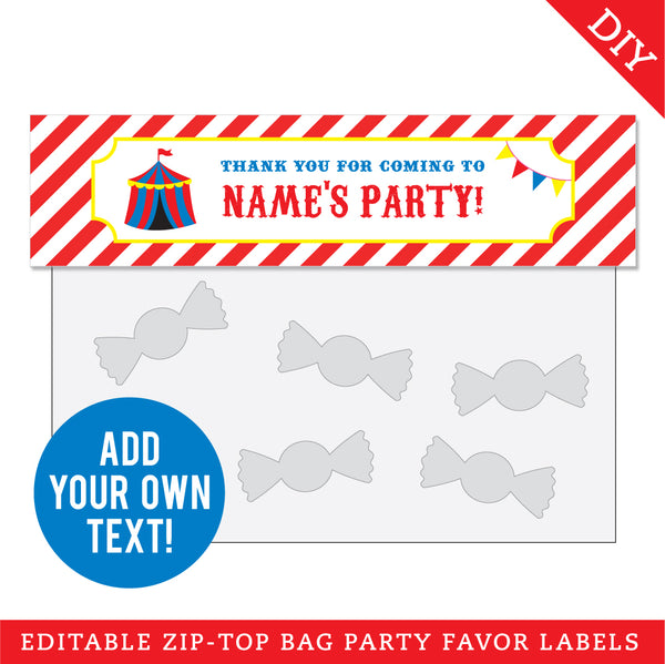 Carnival Party Editable Treat Bag Label (INSTANT DOWNLOAD)