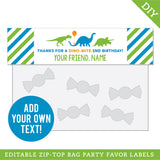Dinosaur Party Editable Treat Bag Label (INSTANT DOWNLOAD)