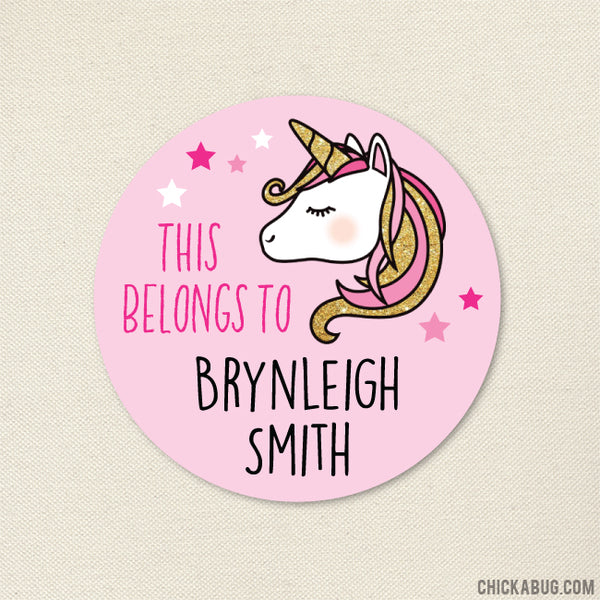"Pink and Gold Unicorn ""This Belongs To"" Labels"