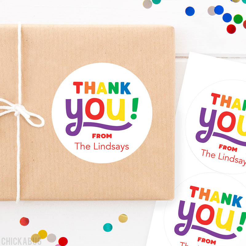 "Rainbow ""Thank You"" Stickers"