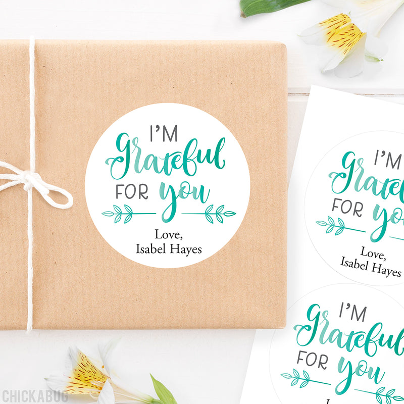 "Calligraphy ""I'm Grateful For You"" Stickers"