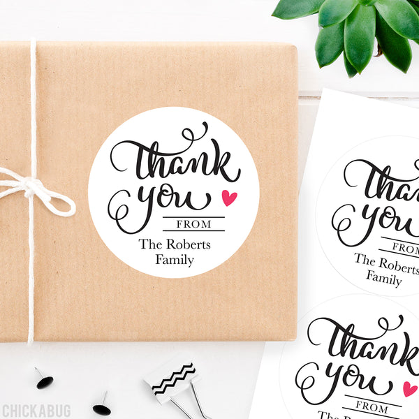 "Black Calligraphy ""Thank You"" Stickers"