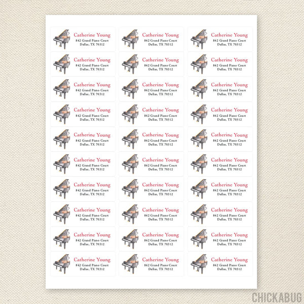 Piano Address Labels