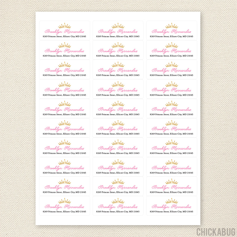 Princess Crown Address Labels