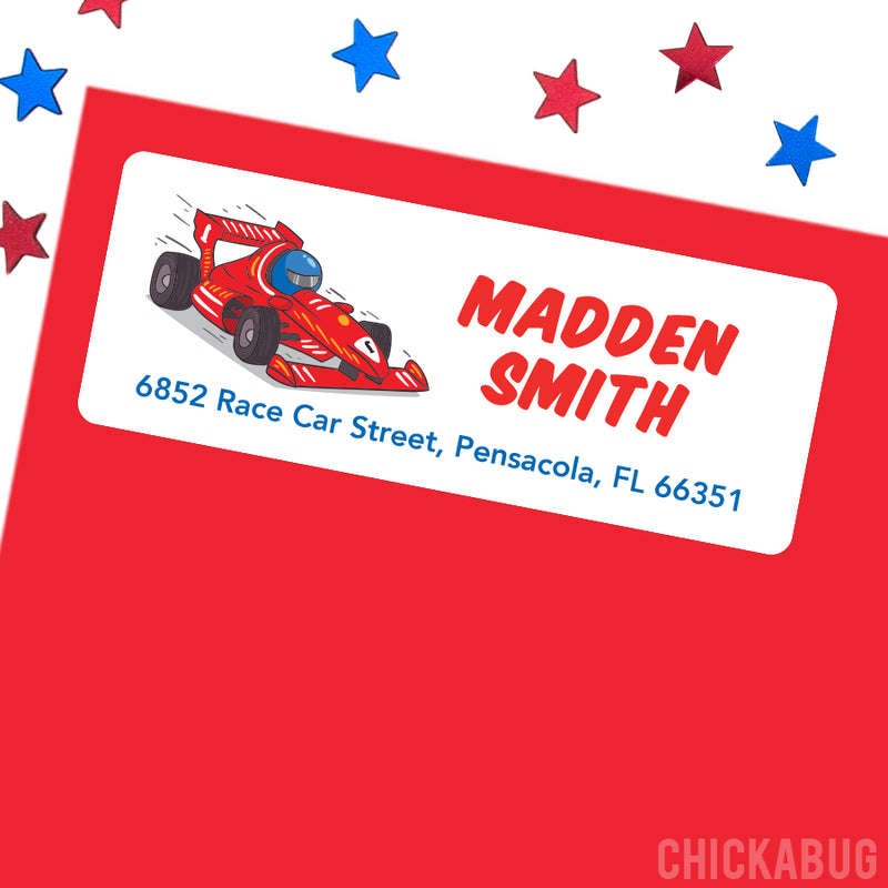 Race Car Driver Address Labels