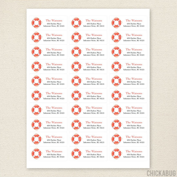 Life Preserver Address Labels
