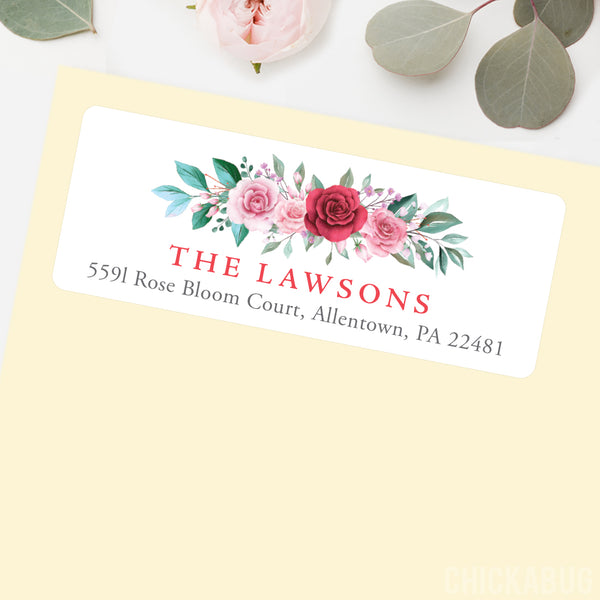 Red and Pink Roses Address Labels