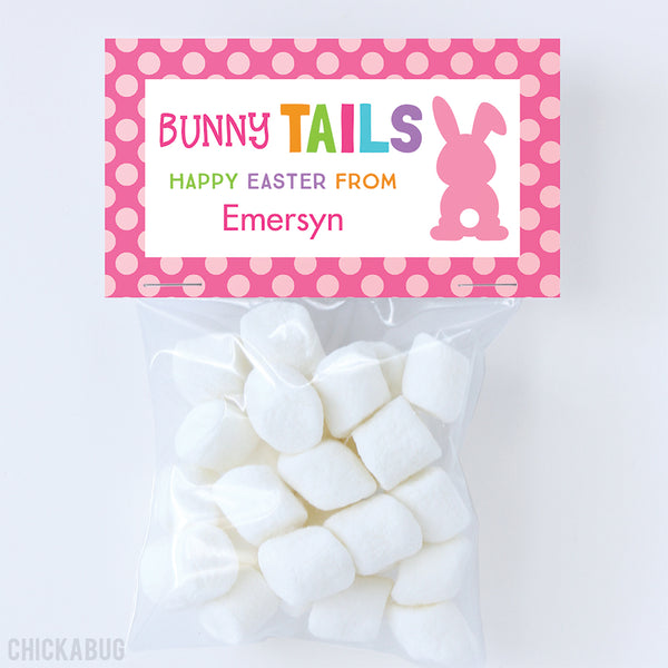 """Bunny Tails"" Easter Paper Tags and Bags - Pink"