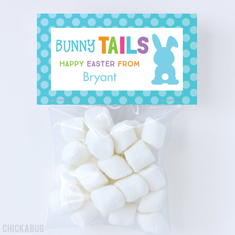 """Bunny Tails"" Easter Paper Tags and Bags - Blue"