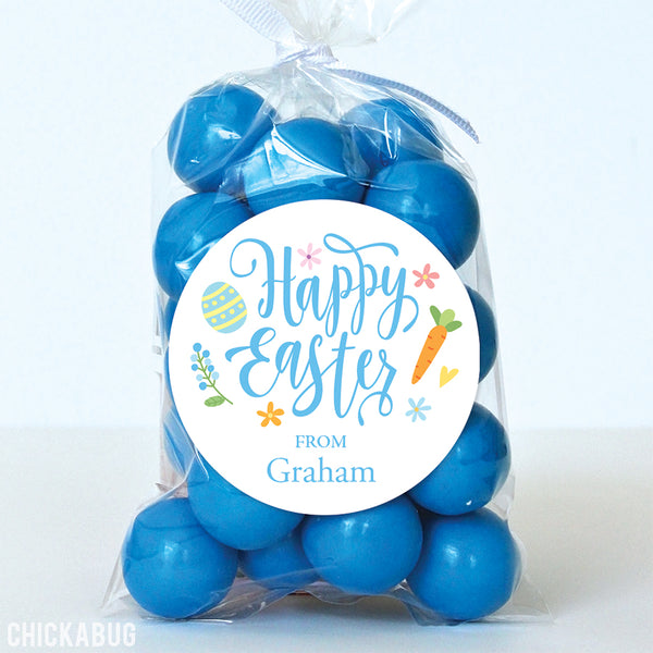 Calligraphy Easter Stickers - Blue