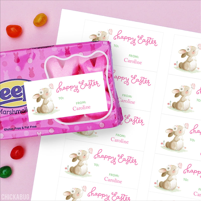 Bunny and Butterfly Easter Gift Labels