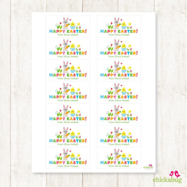 Bunny, Chick and Egg Easter Gift Labels