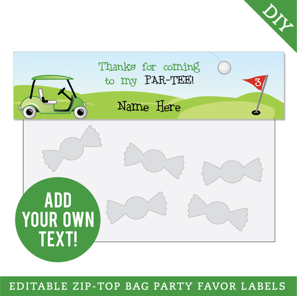 Golf Party Editable Treat Bag Label (INSTANT DOWNLOAD)