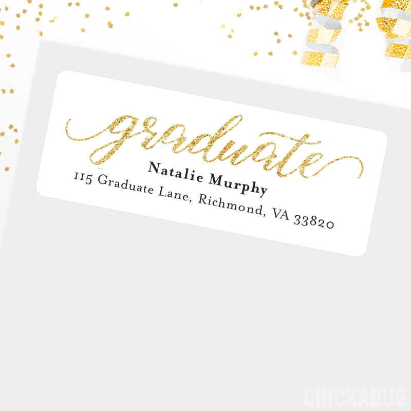 "Gold ""Graduate"" Graduation Address Labels"