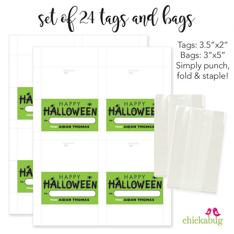 "Spiders ""Happy Halloween"" Paper Tags and Bags"
