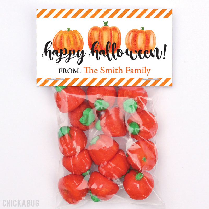 Watercolor Pumpkin Halloween Paper Tags and Bags