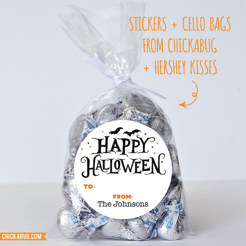 "Spooky Bats ""Happy Halloween"" Labels"