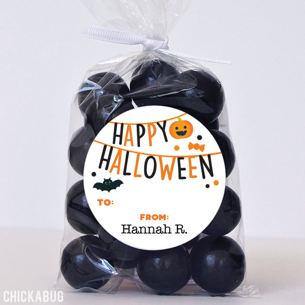 """Happy Halloween"" Banner Labels"