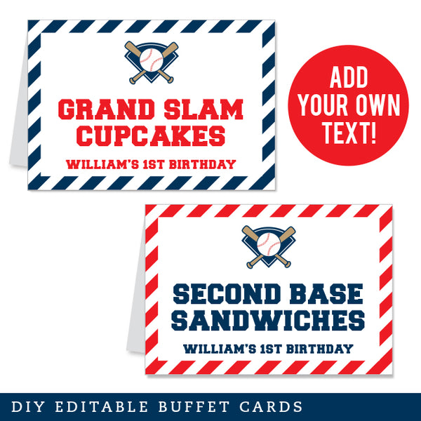 Baseball Editable Buffet Cards (INSTANT DOWNLOAD)