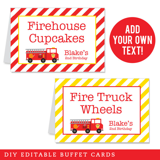 Fire Truck Party Editable Buffet Cards (INSTANT DOWNLOAD)