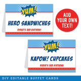 Superhero Party Editable Buffet Cards (INSTANT DOWNLOAD)